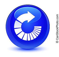 Rotate arrow icon glassy blue round button
