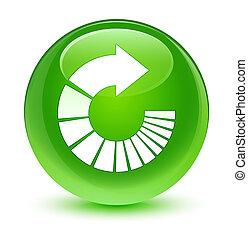 Rotate arrow icon glassy green round button