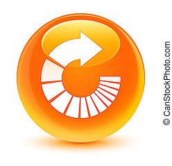 Rotate arrow icon glassy orange round button