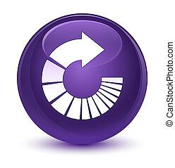 Rotate arrow icon glassy purple round button