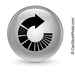 Rotate arrow icon glassy white round button