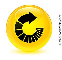 Rotate arrow icon glassy yellow round button