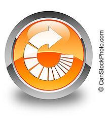 Rotate arrow icon glossy orange round button