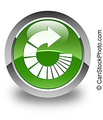 Rotate arrow icon glossy soft green round button