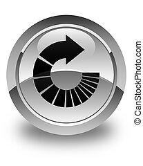 Rotate arrow icon glossy white round button