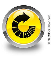 Rotate arrow icon glossy yellow round button