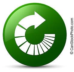 Rotate arrow icon green round button