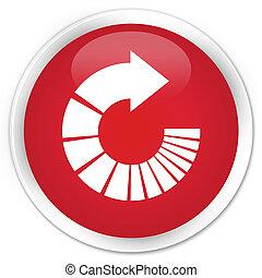 Rotate arrow icon premium red round button