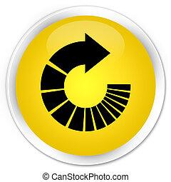 Rotate arrow icon premium yellow round button