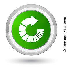 Rotate arrow icon prime green round button