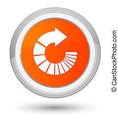 Rotate arrow icon prime orange round button