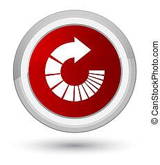 Rotate arrow icon prime red round button