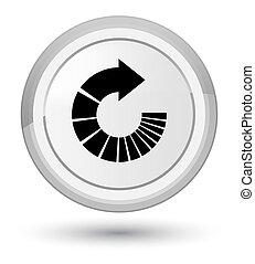 Rotate arrow icon prime white round button