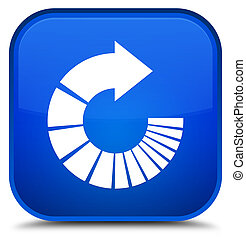 Rotate arrow icon special blue square button