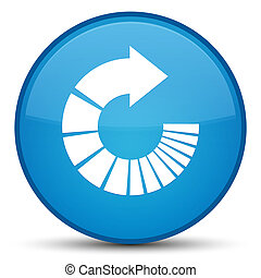 Rotate arrow icon special cyan blue round button