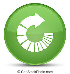 Rotate arrow icon special soft green round button