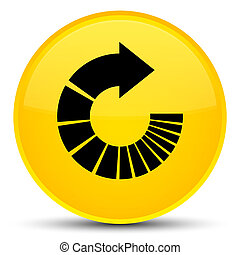 Rotate arrow icon special yellow round button