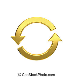 Rotate arrows. Concept for a cycle, loop, continuous period. 3D rendering illustration