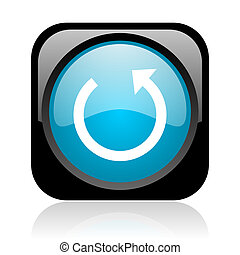 rotate black and blue square web glossy icon