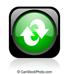rotate black and green square web glossy icon