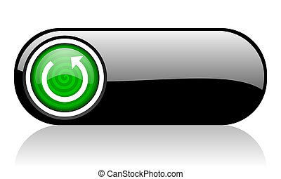 rotate black and green web icon on white background