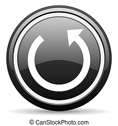 rotate black glossy icon on white background