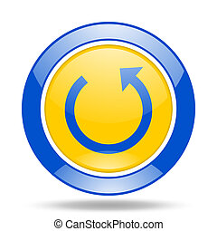 rotate blue and yellow web glossy round icon