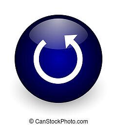 Rotate blue glossy ball web icon on white background. Round 3d render button.
