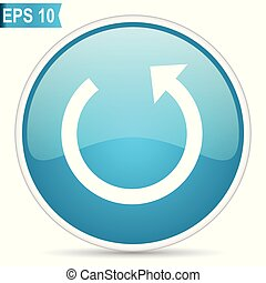 Rotate blue glossy round vector icon in eps 10. Editable modern design internet button on white background.