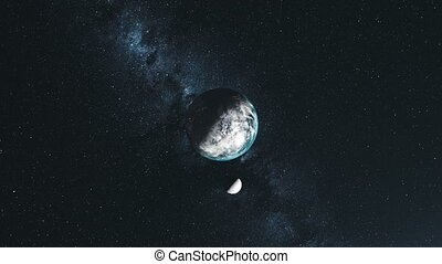 Rotate earth moon orbit star background top down