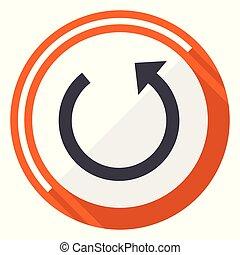 Rotate flat design vector web icon. Round orange internet button isolated on white background.