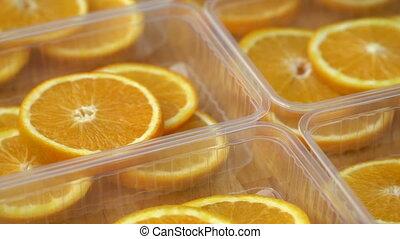 Rotate fresh citrus oranges fruits. Seamless loop spinning...