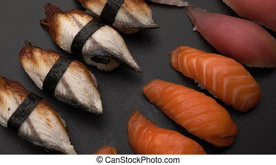 rotate fresh sushi food background