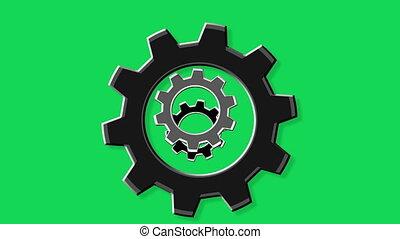 Rotate gears green screen - Rotate gears.Loopable...