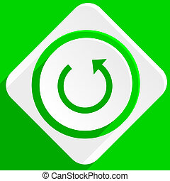 rotate green flat icon