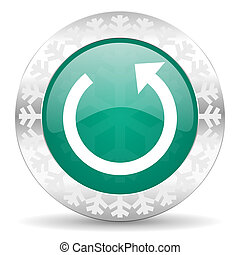 rotate green icon, christmas button, reload sign