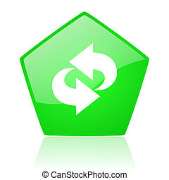 rotate green pentagon web glossy icon