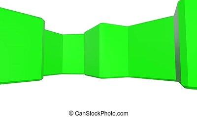 rotate., haut, channel., arrière-plan., animation, vert, engrenages, alpha, fin, blanc, 3d