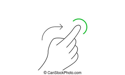 Rotate in right direction and hold mobile screen gesture line art vector animation. Hand pressing mobile phone touchscreen button contour icon video. One finger flicking motion graphics