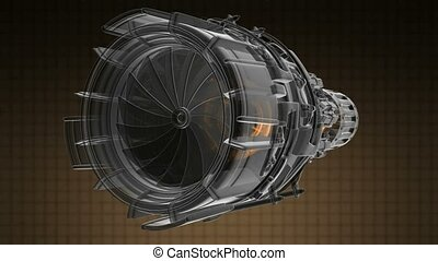 rotate jet engine turbine of plane, aircraft concept, aviation and aerospace industry