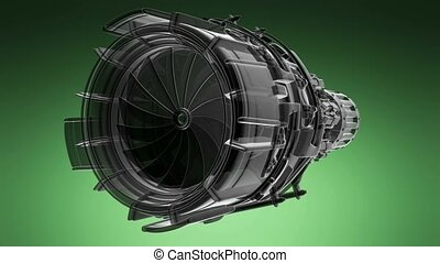rotate jet engine turbine of plane, aircraft concept, aviation and aerospace