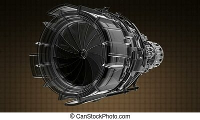 rotate jet engine turbine of plane, aircraft concept,...