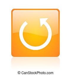 rotate orange square glossy web icon