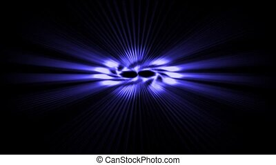 rotate power blue rays laser energy field in space.
