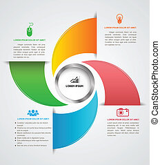 Rotate template with icons - Vector business concepts with...