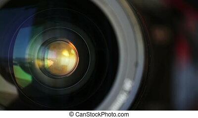 Rotate the camera lens horizontally. Closeup.