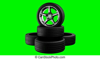 rotate wheels on green chromakey
