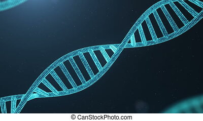 Rotated 3D rendered Digital DNA molecule, structure. Concept binary code human genome. DNA molecule with modified genes.