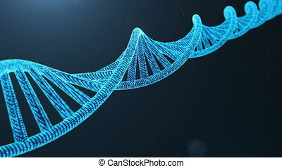 Rotated 3D rendered Digital DNA molecule, structure. Concept...