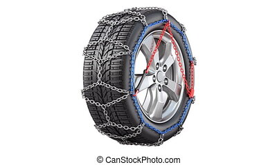 Rotated car wheel with snow chain, seamlessly loopable - 3D...